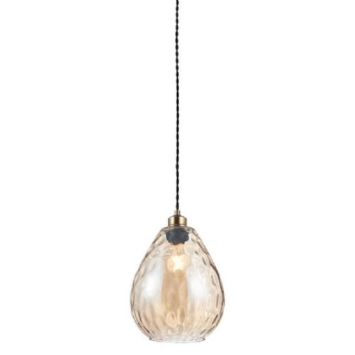 Cognac rippled glass Pendant Light 60298 by Endon